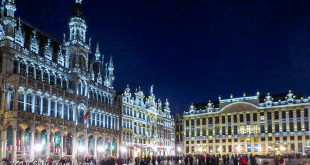 Burssels Main Square at Night During My FIrst Workaway