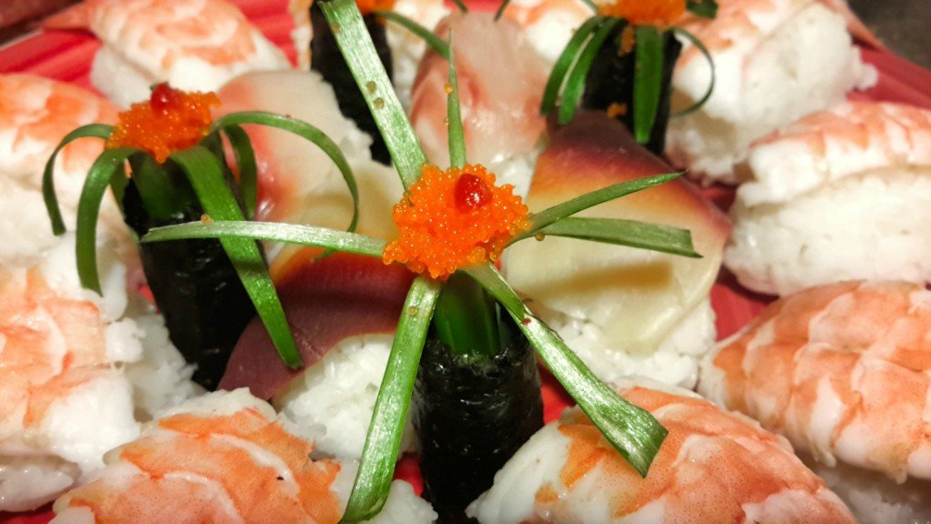 Homemade Sushi Floral Display