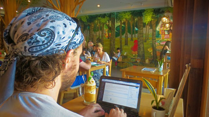 Coffee and Honey frappe at Into the Woods Cafe, Chiang Mai, Thailand