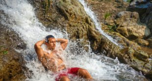 Juliano Taking a Shower in the Waterfall
