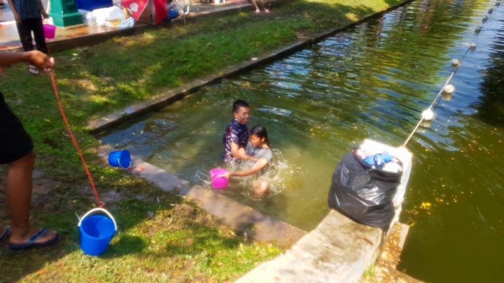 Girl in Moat at Songkran