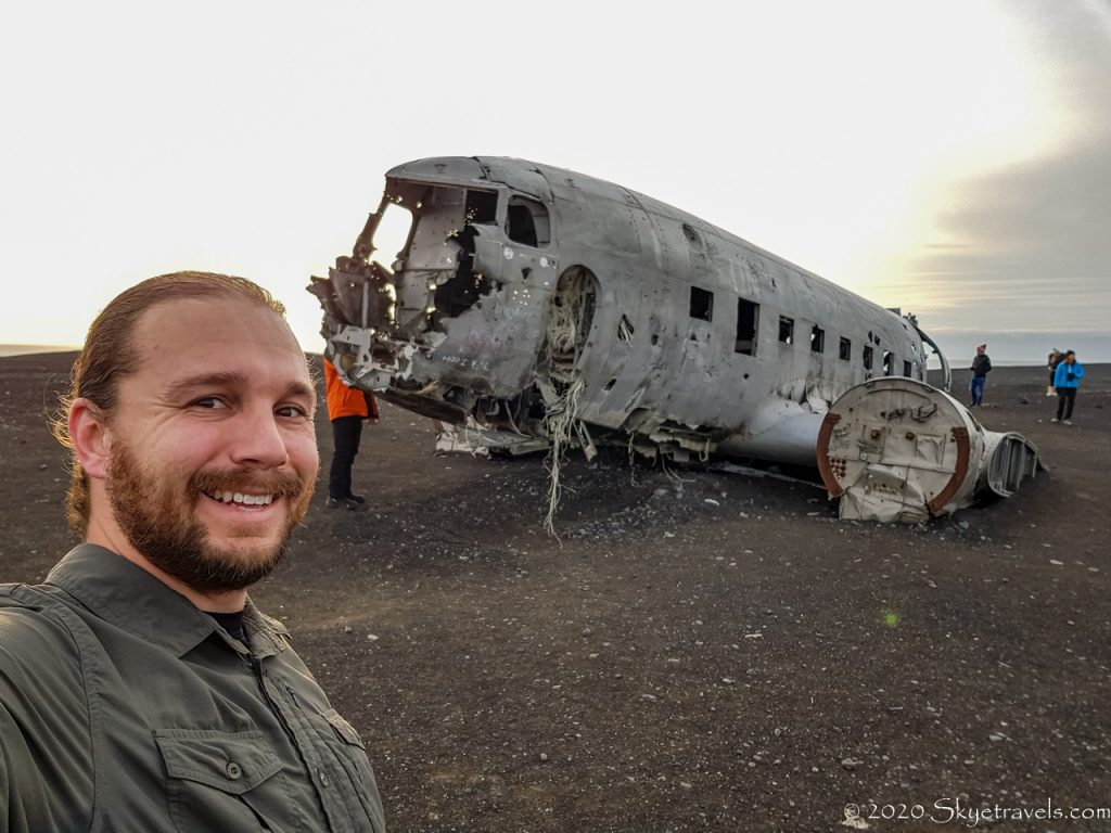 Selfie with Plane Crash in Iceland