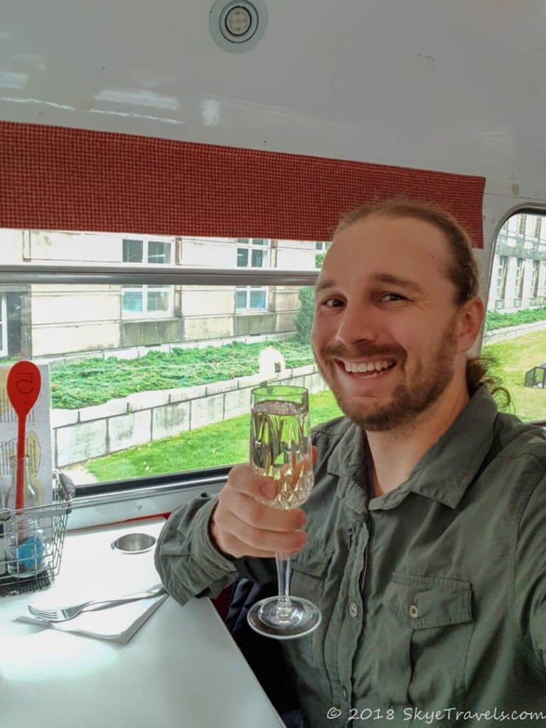 Selfie with Champagne on the Red Bus Bistro
