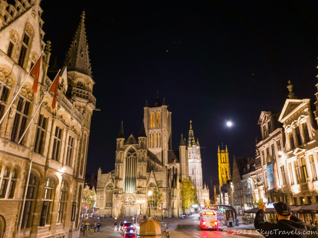 Three Towers of Ghent at Night