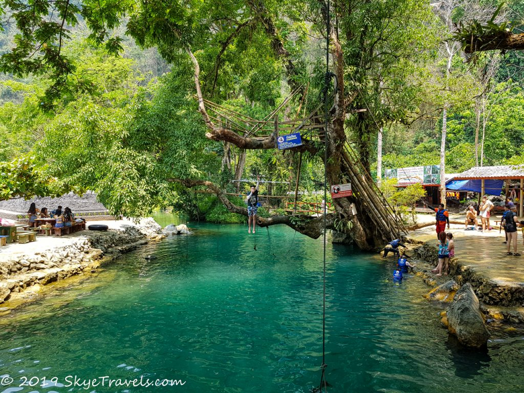 Jumping into the Blue Lagoon in Laos