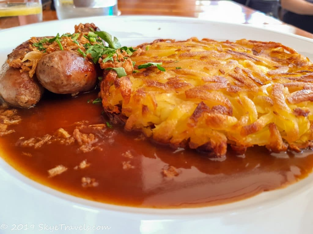 Sausage and Rosti Lunch at the Tramdepot in Bern, Switzerland