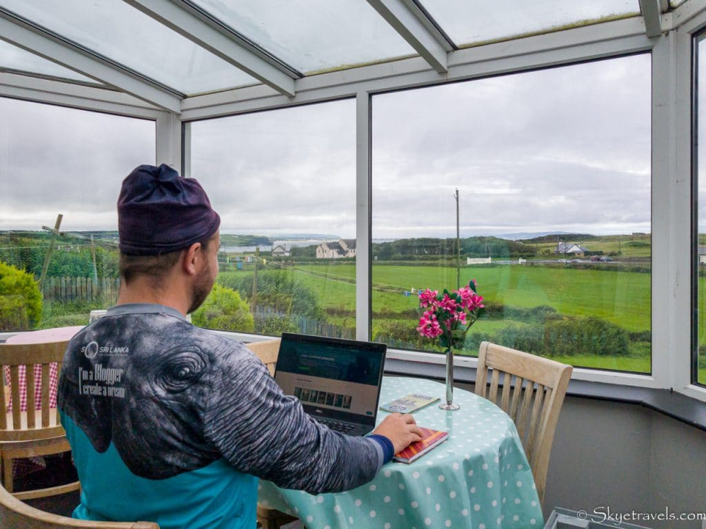 Selfie Working at Finn McCool's Hostel with View