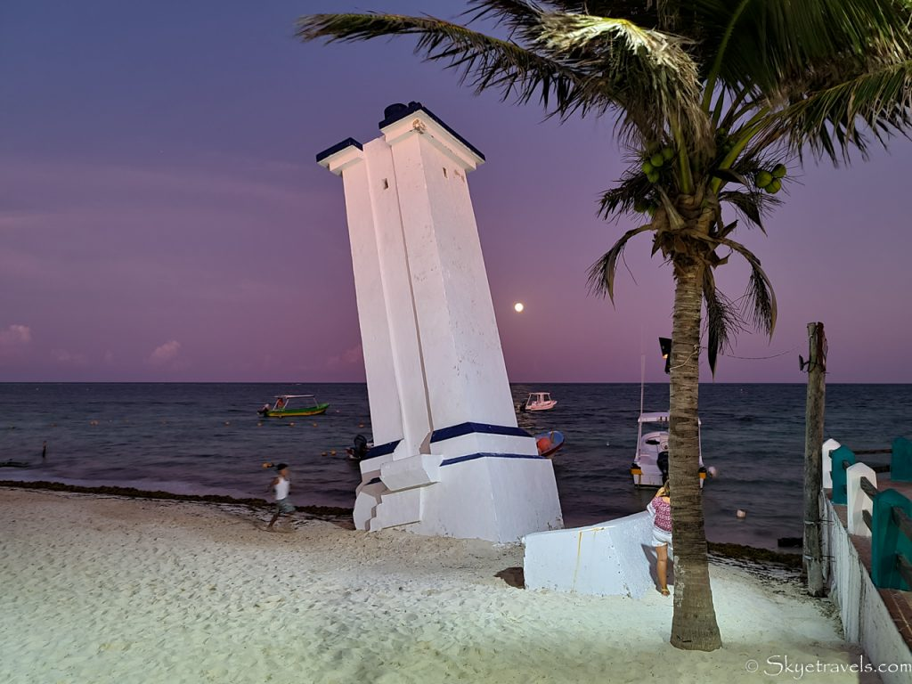Puerto Morelos Lighthouse with Full Moon